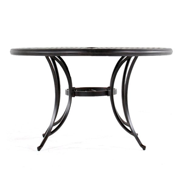 """Heritage 48"""" round cast top dining table side view"""