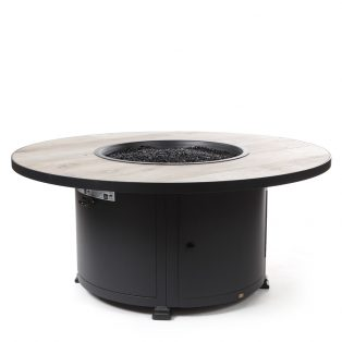 "54"" Round Santorini fire pit with a Silver Oak top"