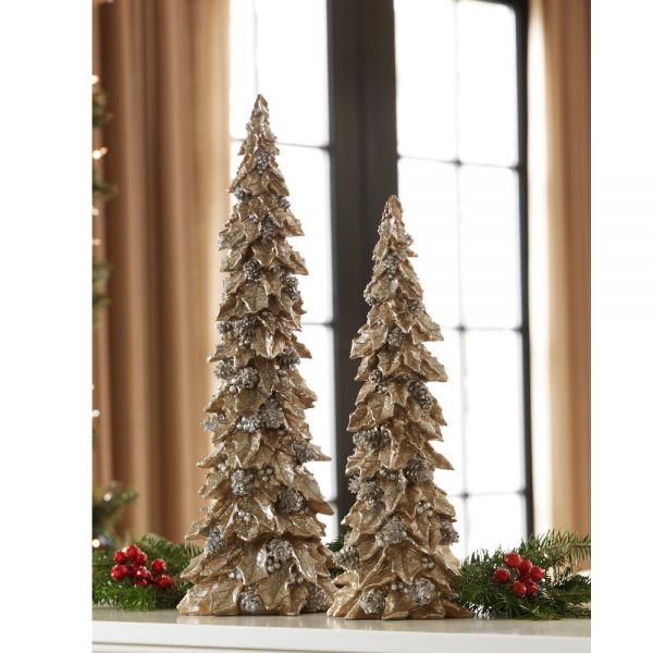 Christmas Holly trees with pine cone detail (Set of 2)
