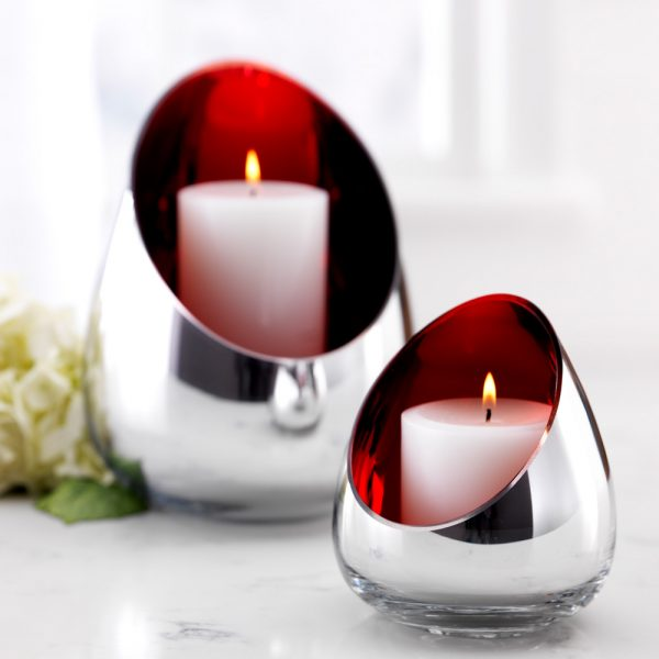 Christmas mirrored candle holders (Set of 2)