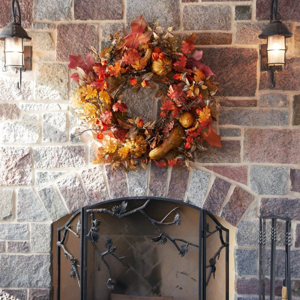Oversize fall wreath w/ gourds and berries 61462