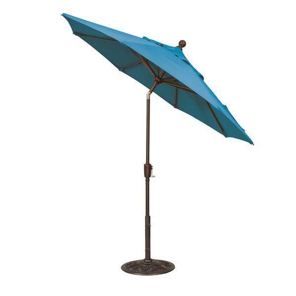 Treasure Garden 7.5' push button tilt market umbrella with Pacific Blue Sunbrella fabric