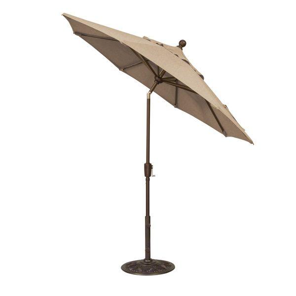 Treasure Garden 7.5' push button tilt market umbrella with Sesame Linen Sunbrella fabric