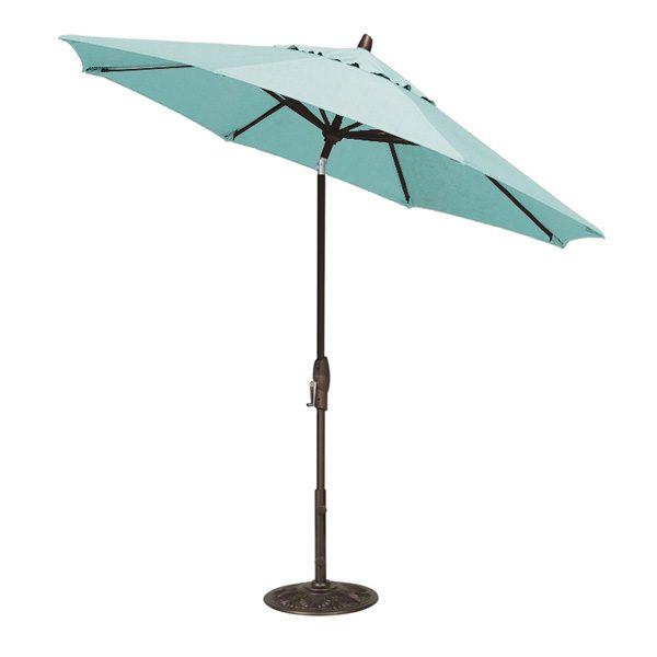 Treasure Garden 9' auto tilt market umbrella with Aruba Sunbrella fabric