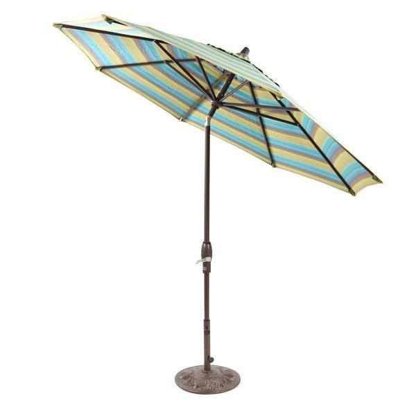 Treasure Garden 9' auto tilt market umbrella with Astoria Lagoon Sunbrella fabric