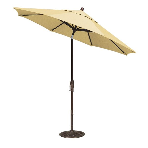 Treasure Garden 9' auto tilt market umbrella with Buttercup Sunbrella fabric