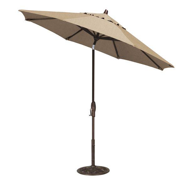 Treasure Garden 9' auto tilt market umbrella with Heather Beige Sunbrella fabric