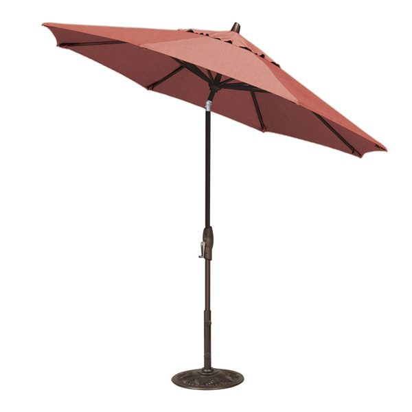 Treasure Garden 9' auto tilt market umbrella with Henna Sunbrella fabric