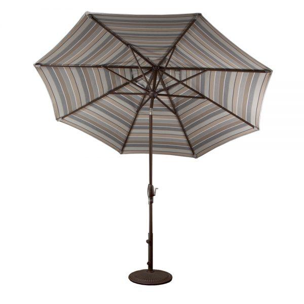Treasure Garden 9' auto tilt market umbrella with 9' Market Umbrella - Auto Tilt - Milano Char Sunbrella fabric
