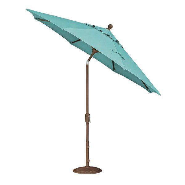 Treasure Garden 9' aluminum push button tilt market umbrella with Aruba Sunbrella fabric