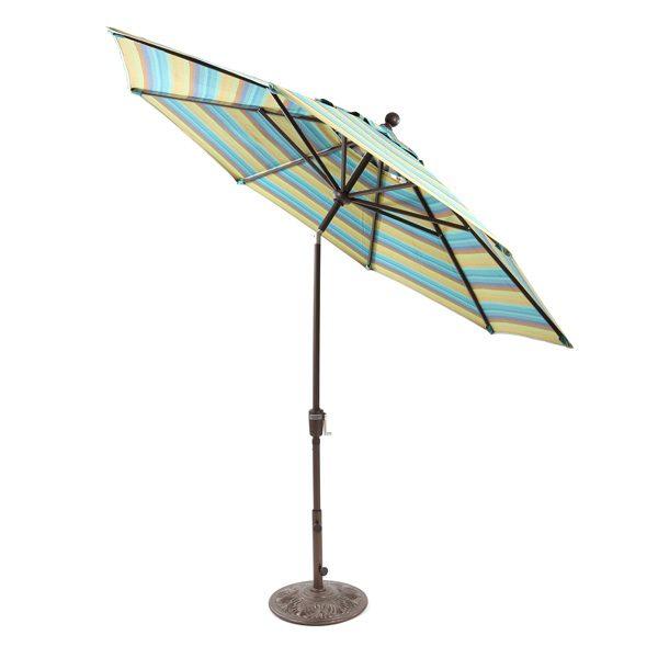 Treasure Garden 9' push button tilt market umbrella with Astoria Lagoon Sunbrella fabric