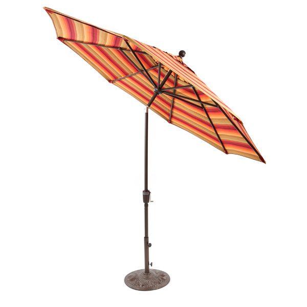 Treasure Garden 9' push button tilt market umbrella with Astoria Sunset Sunbrella fabric
