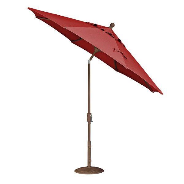 Treasure Garden 9' push button tilt market umbrella with Jockey Red Sunbrella fabric