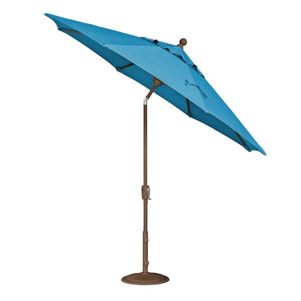 Treasure Garden 9' push button tilt market umbrella with Pacific Blue Sunbrella fabric