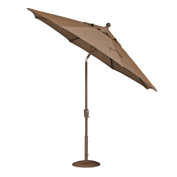 Treasure Garden 9' push button tilt market umbrella with Teak Sunbrella fabric