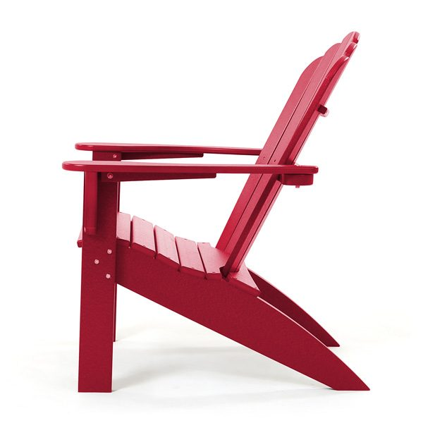 Adirondack porch chair with Cherry red finish side view