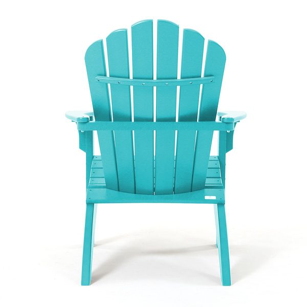 Outdoor teal Adirondack chair back view