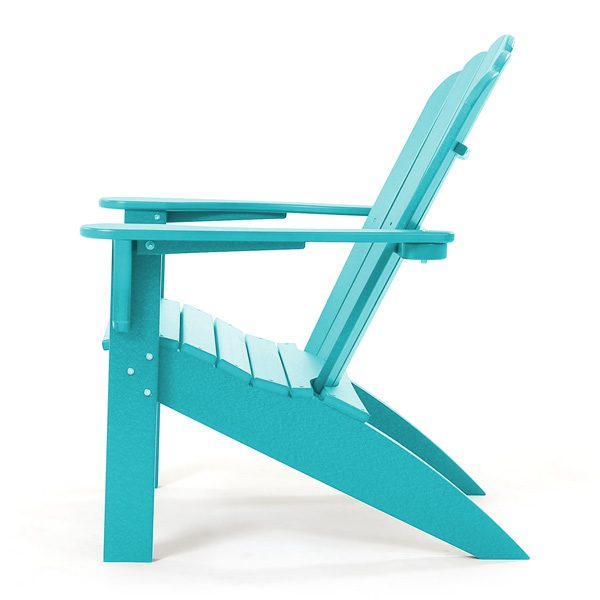 Teal Adirondack patio chair side view