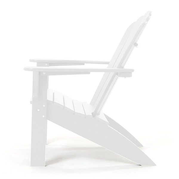 White outdoor Adirondack chair side view