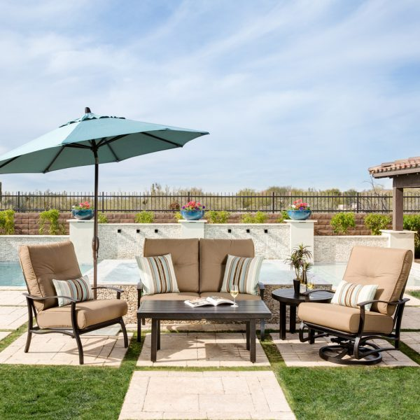 Mallin Albany outdoor aluminum patio furniture with Spectrum Caribou cushions