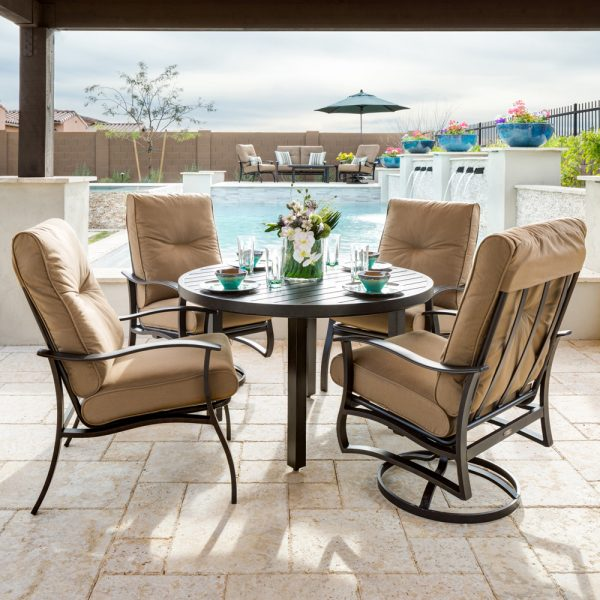Mallin Albany aluminum outdoor dining furniture with Spectrum Caribou cushions