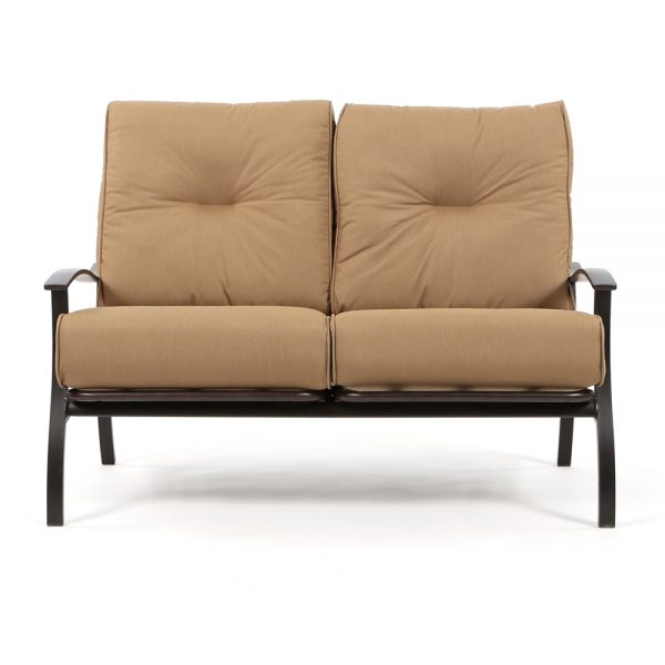 Mallin Albany aluminum love seat front view