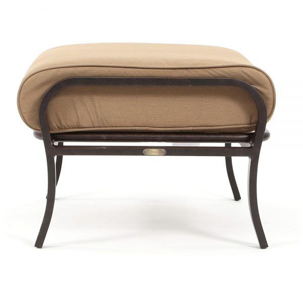 Albany patio ottoman Spectrum Caribou cushion side view