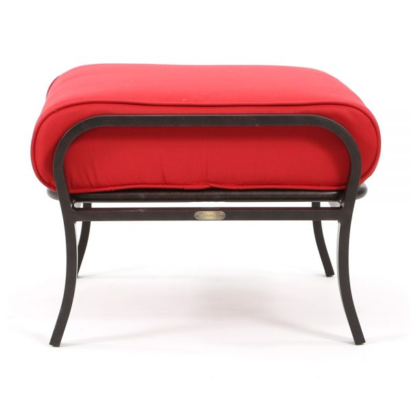 Albany patio ottoman with Flagship Ruby fabric side view
