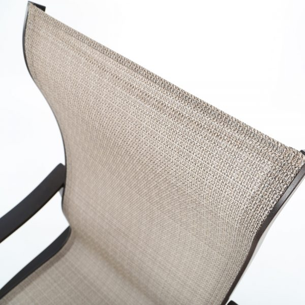 Mallin Albany sling dining chair Elevation Stone outdoor sling fabric detail
