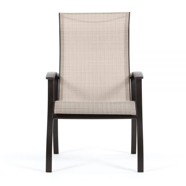 Mallin Albany sling aluminum dining chair front view