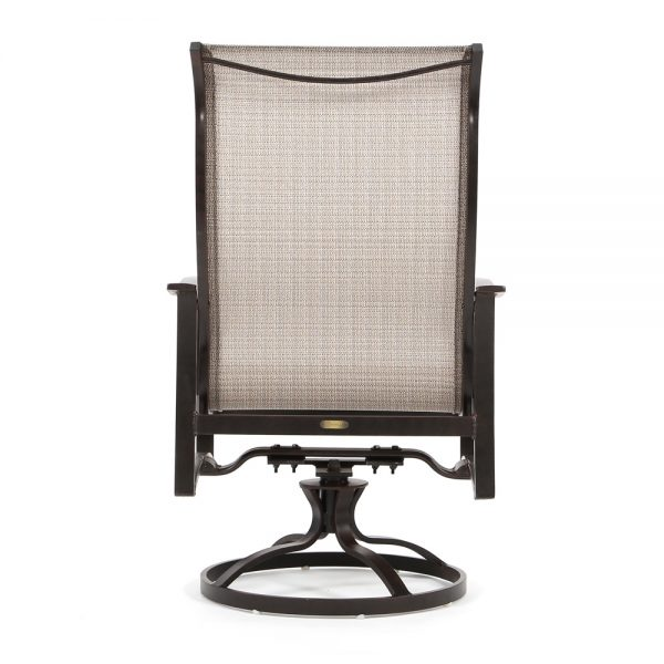 Albany outdoor swivel rocker dining chair back view