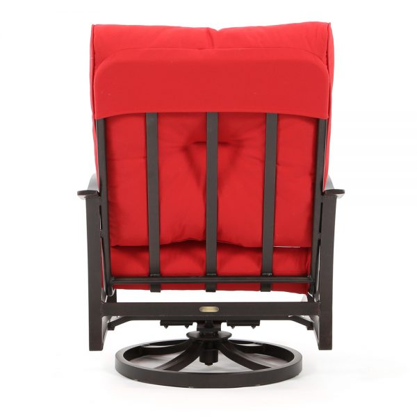 Albany outdoor aluminum swivel club chair back view