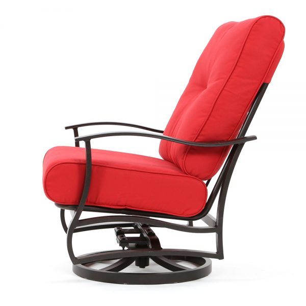 Albany aluminum spring swivel club chair with Ruby cushions side view