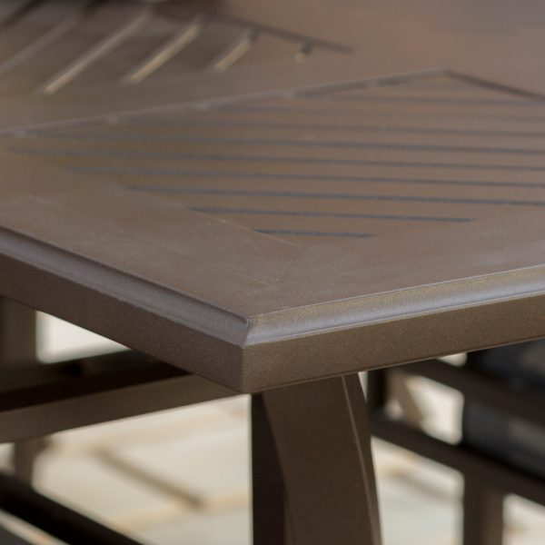 Sunvilla Allegro aluminum dining table with a Sunset powder coat finish