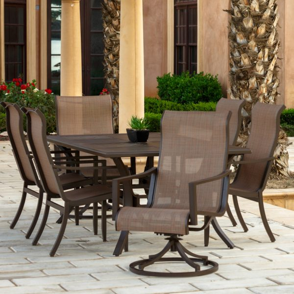 Sunvilla Allegro outdoor aluminum dining table and sling patio furniture