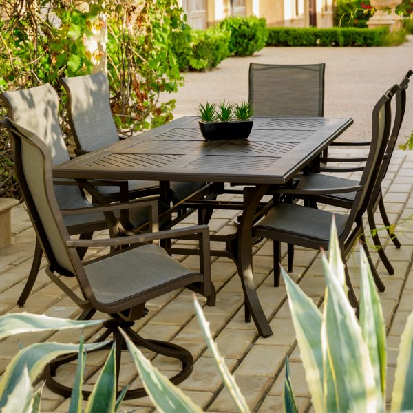 Sunvilla Allegro patio dining table and sling outdoor dining chairs