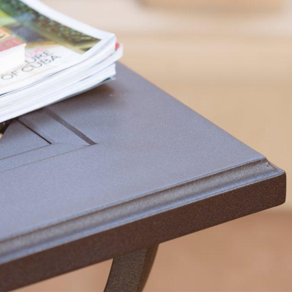 Sunvilla Allegro aluminum outdoor coffee table with a Sunset powder coat finish