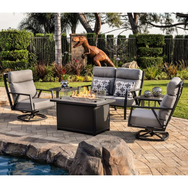 Aris swivel rocker lounge chair with Flagship Pewter cushions