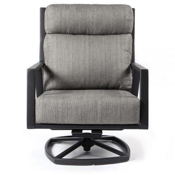 Aris aluminum swivel rocker lounge chair front view