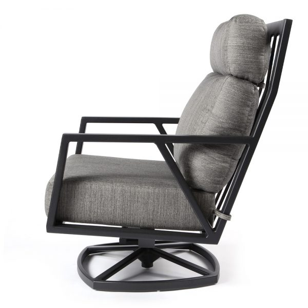 Aris outdoor swivel rocker lounge chair side view