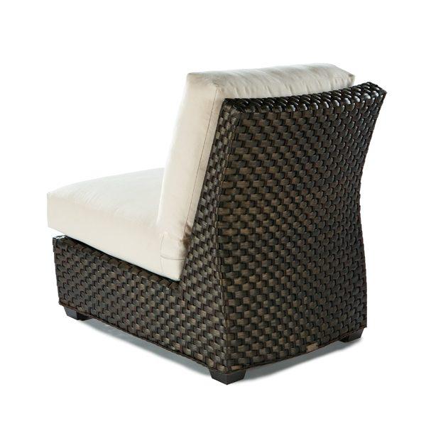 Leeward wicker armless lounge chair back view