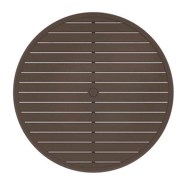 "Tropitone Banchetto 54"" round slat top dining table top view"