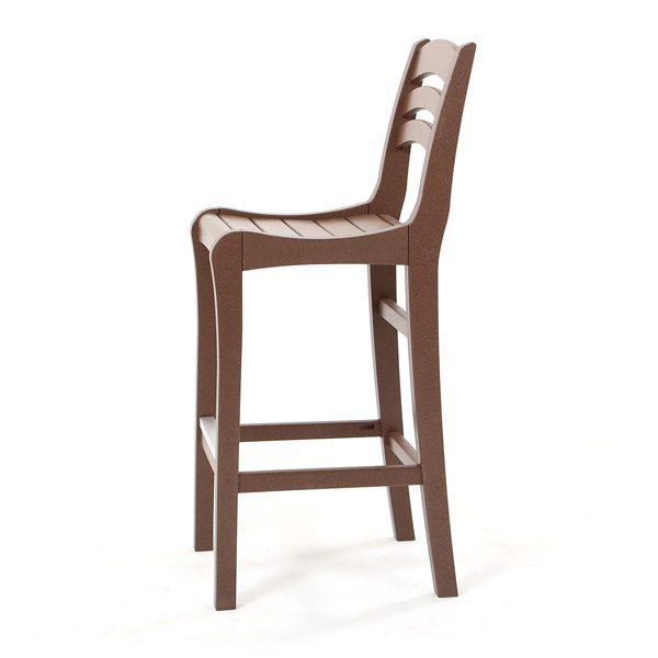 Chestnut Charleston outdoor bar chair side view