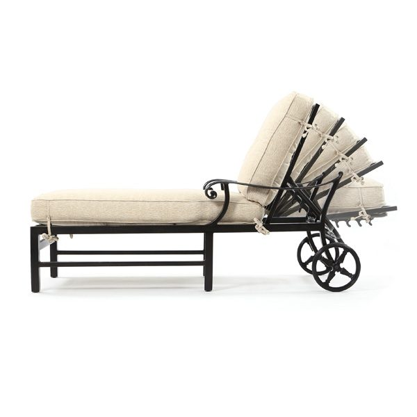 Pride Bellagio outdoor chaise lounge side view with reclining positions