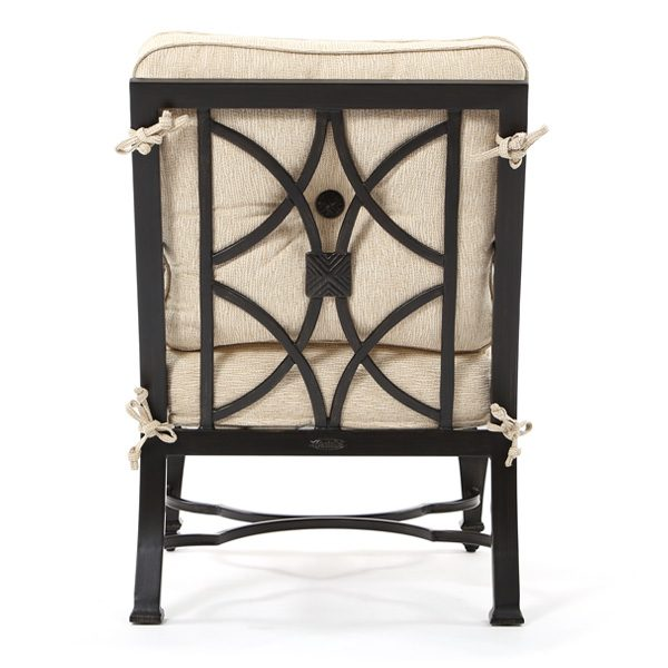 Bellagio outdoor aluminum dining chair back view
