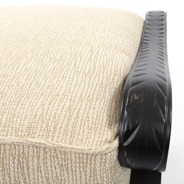 Pride Castelle Bellagio aluminum ottoman with a Dark Rum Gold powder coat finish