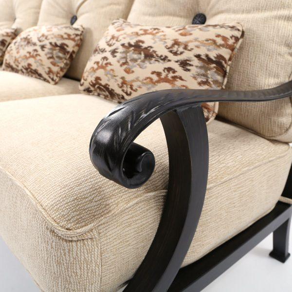 Pride Bellagio aluminum sofa frame with a Dark Rum Gold powder coat finish