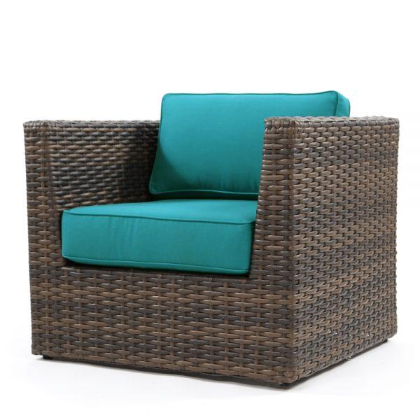 NCI Bellanova outdoor club chair with Spectrum Peacock cushions