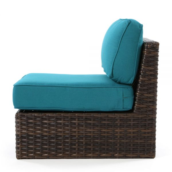 Bellanova wicker armless section chair side view