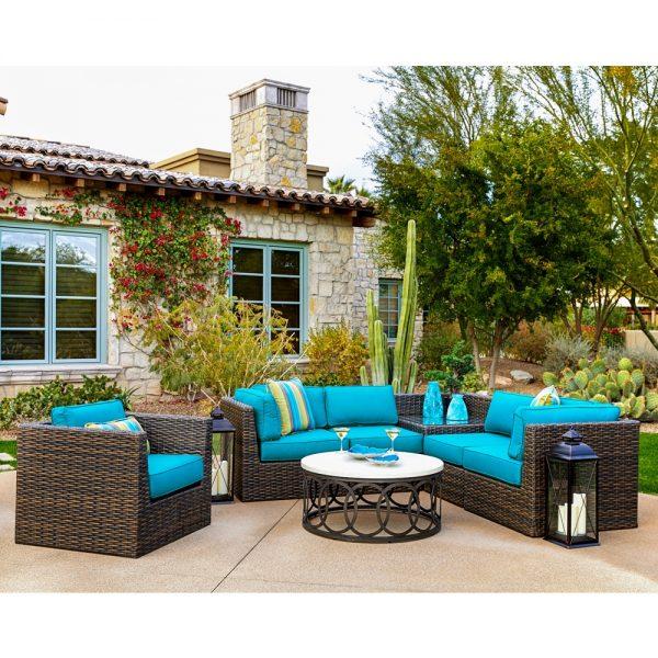 Bellanova outdoor wicker furniture with Spectrum Peacock cushions